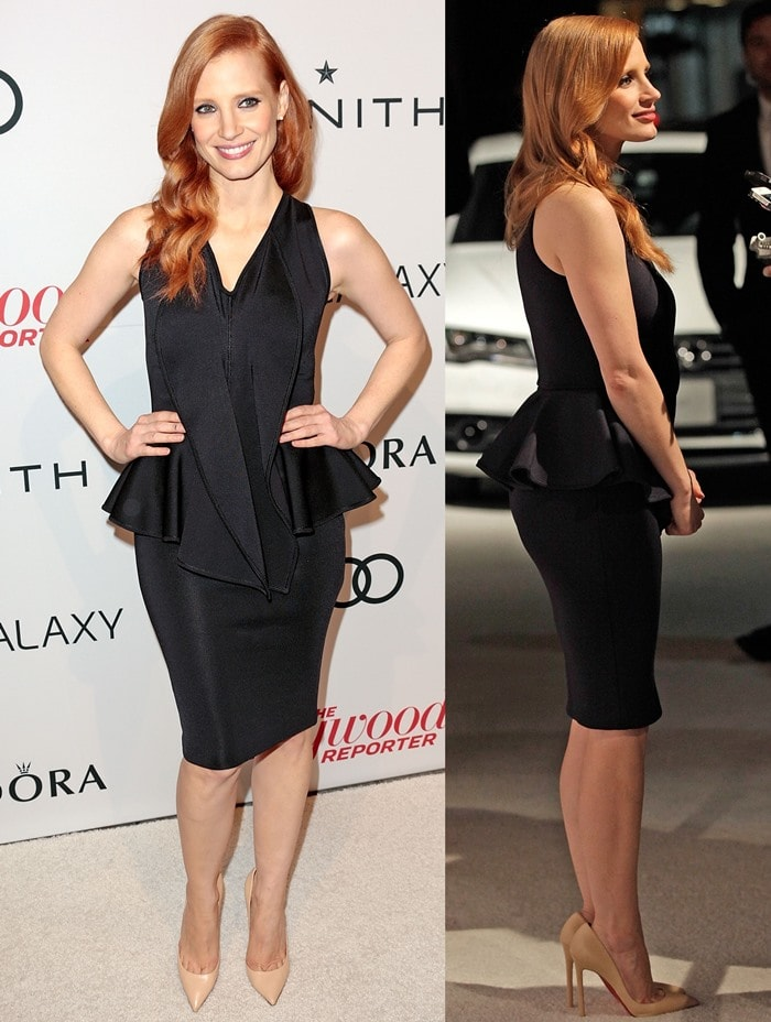 Jessica Chastain styled her black peplum cocktail dress with nude high heels