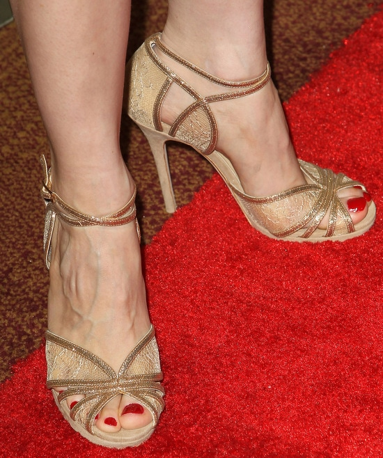 Jessica Chastain's Jimmy Choo Fayme Nude Glitter and Lace