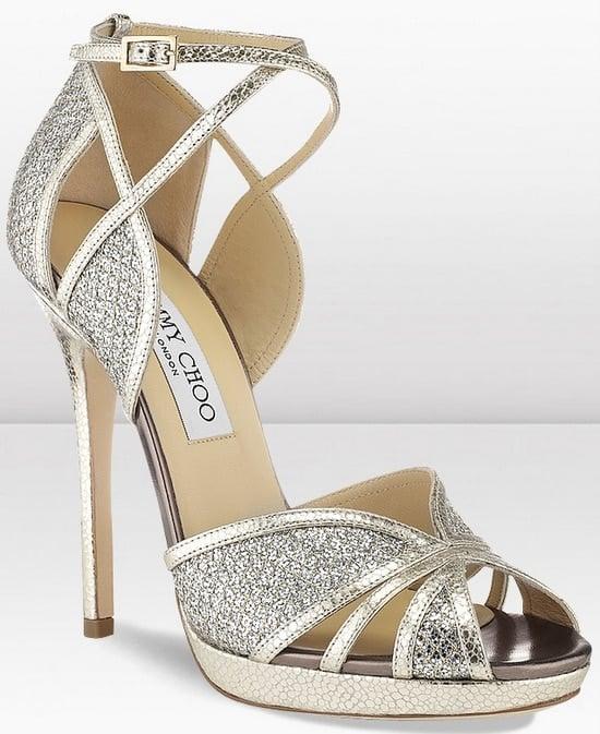 Jimmy Choo Fayme Champagne Glitter Sandals