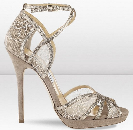 Jimmy Choo Fayme Nude Glitter and Lace Sandals