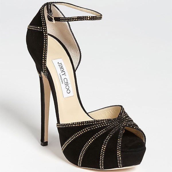 "Jimmy Choo ""Kalpa"" Crystal-Accented Suede Ankle-Strap Sandals"