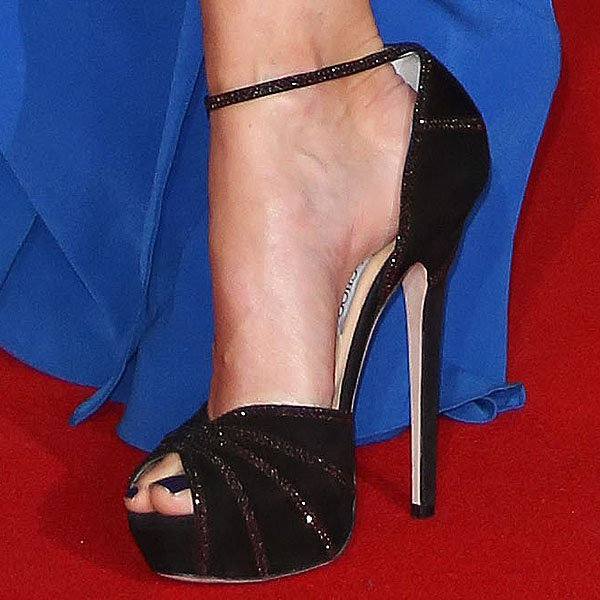 "Jo Whiley showing off her feet in Jimmy Choo ""Kalpa"" sandals"