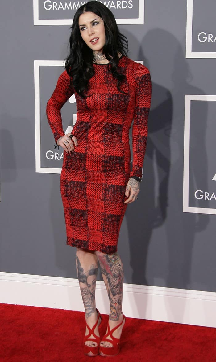 Kat Von D in Derek Lam at the 55th Annual Grammy Awards in Los Angeles, California on February 10, 2013