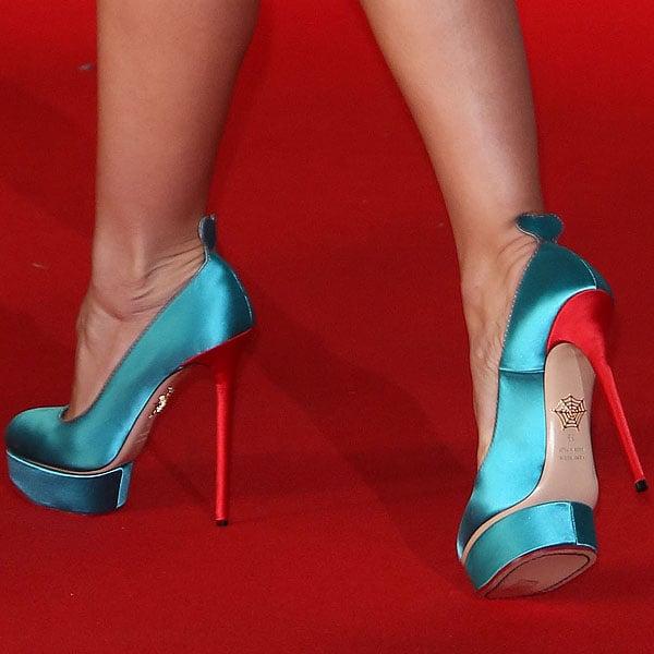 "Katherine Jenkins showing off her feet inCharlotte Olympia ""Josephine"" Pumps"