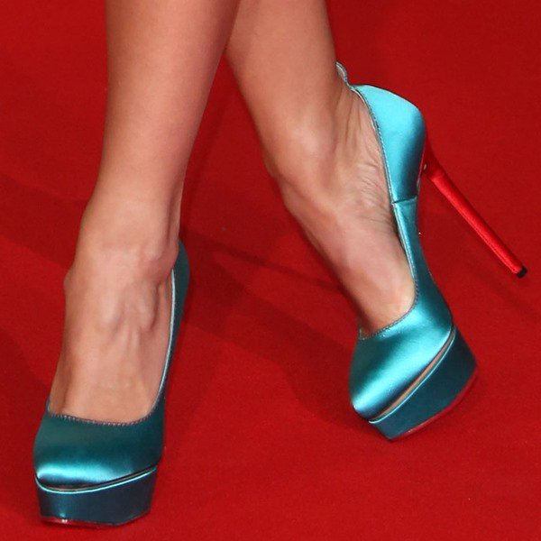 "Katherine Jenkins showing off her feet in Charlotte Olympia ""Josephine"" Pumps"