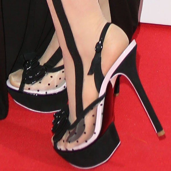 Katy B rocks dot-mesh bow slingback heels