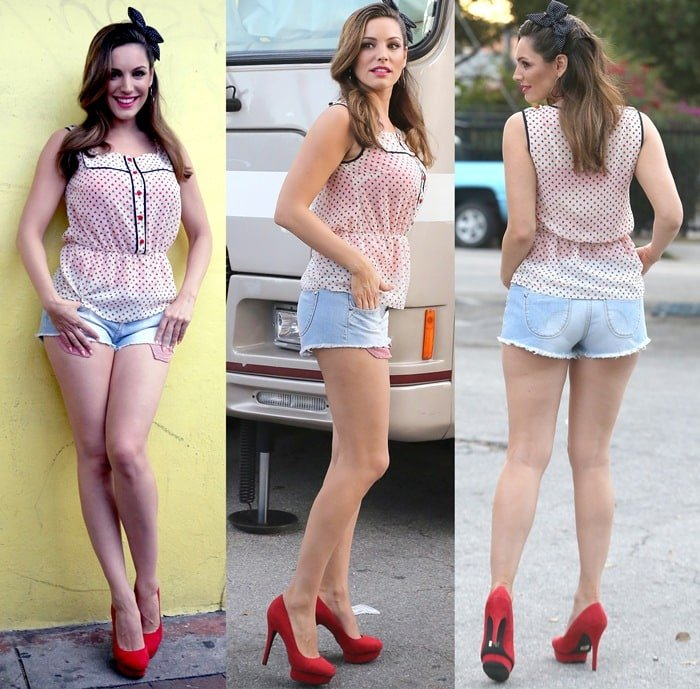 Kelly Brook flaunted her hot legs while shooting a commercial