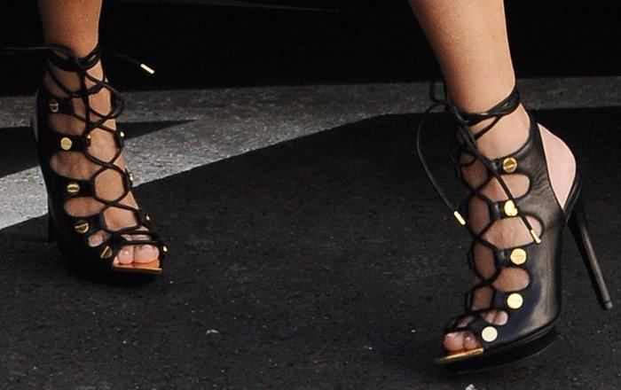 Kourtney Kardashian's Tom Ford lace-up platform sandals