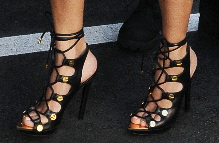 Kourtney Kardashian shows off her feet in Tom Ford sandals