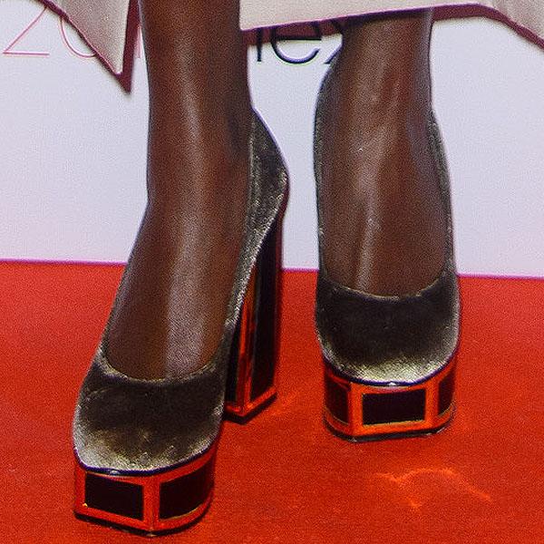Laura Mvula shows off her feet in block-heel shoes