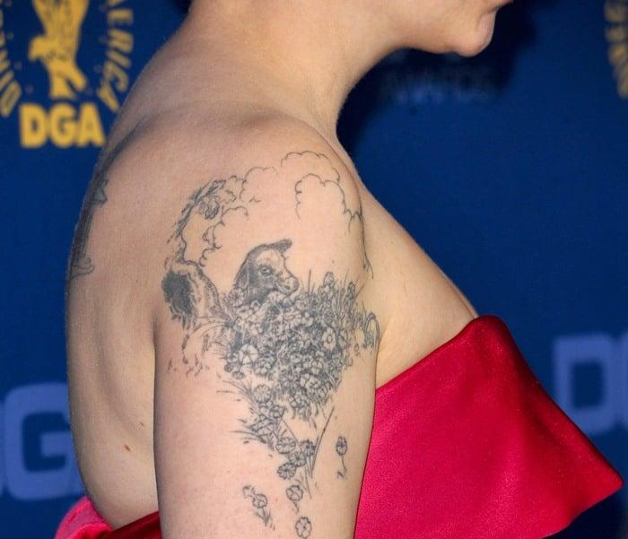Lena Dunham'sFerdinand the bull tattoo on her upper left arm