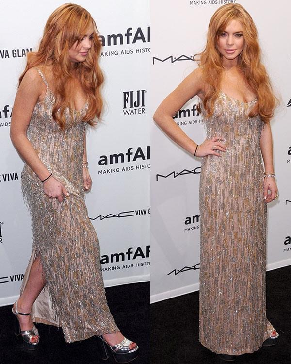 Lindsay Lohan at the amfAR gala held at Cipriani Wall Street