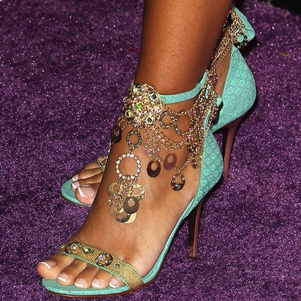 LisaRaye McCoy jeweled chain ankle strap sandals