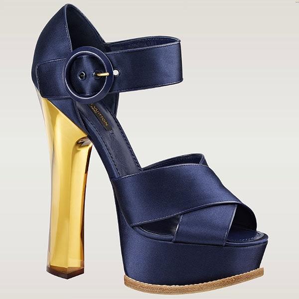 Louis Vuitton 'Florida' Plexiglas Heel Satin Platform Sandals