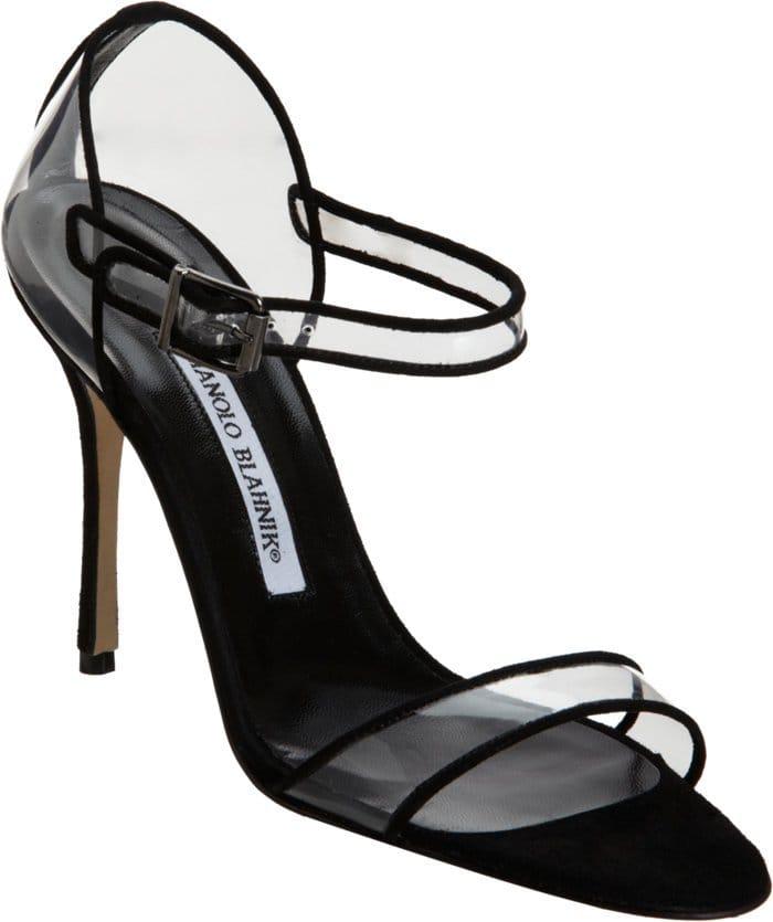 Manolo Blahnik 'Fersen' Suede-Trimmed PVC Ankle-Strap Sandals