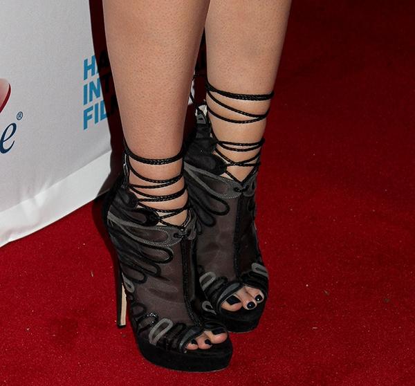 "Mary Elizabeth Winstead showing off her toes inJimmy Choo ""Kafira"" sandal booties"