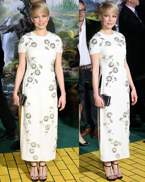 Michelle Williams' white Prada dress at the Los Angeles premiere of Oz: The Great and Powerful