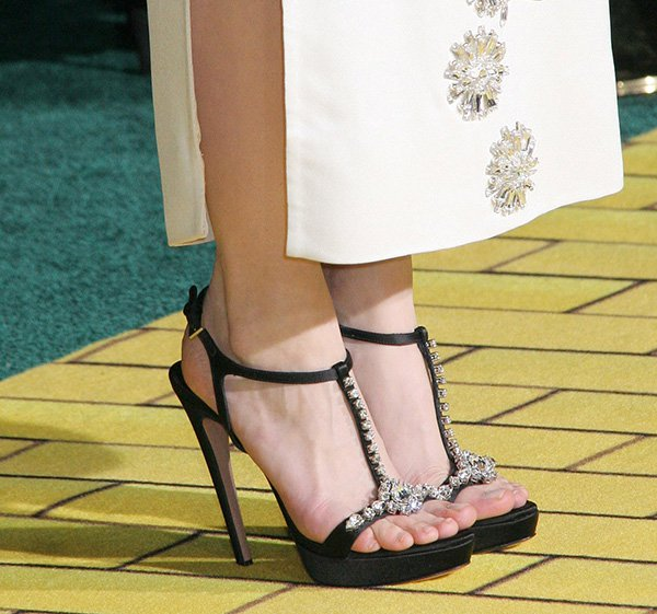 Michelle Williams' sexy feet in Swarovski crystal-embellished Prada heels