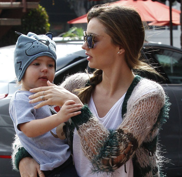 Miranda Kerr and her son, Flynn Bloom, heading to a friend's house
