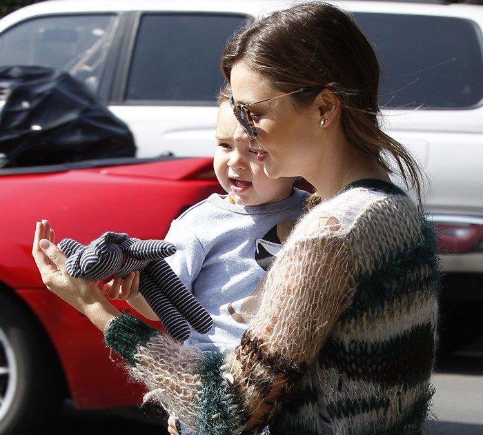 Miranda Kerr rocked a Rodarte S363 loose-knit cardigan