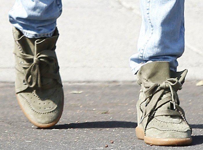 Miranda Kerr's Isabel Marant Bobby wedge sneakers