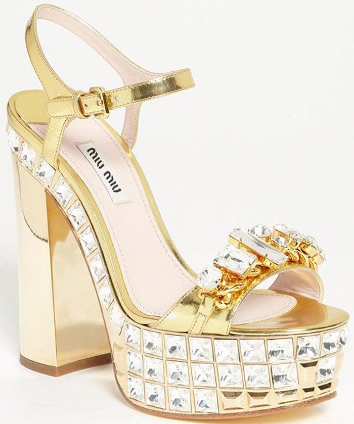 Miu Miu spring 2013 crystal-encrusted ankle-strap platform sandals