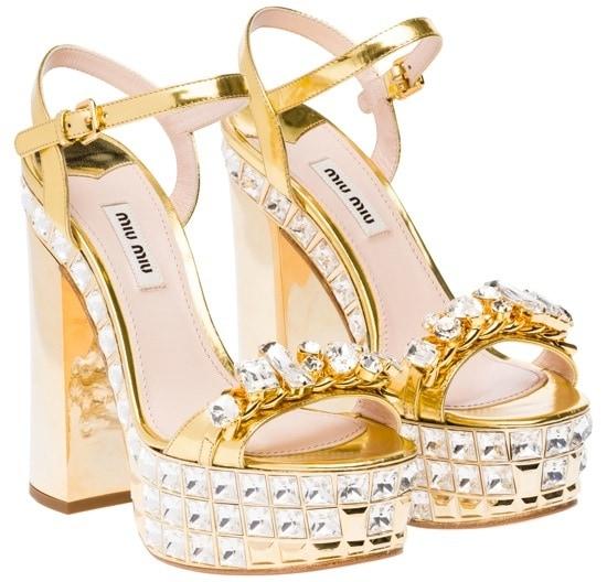 Miu Miu Gold Crystal Sandals