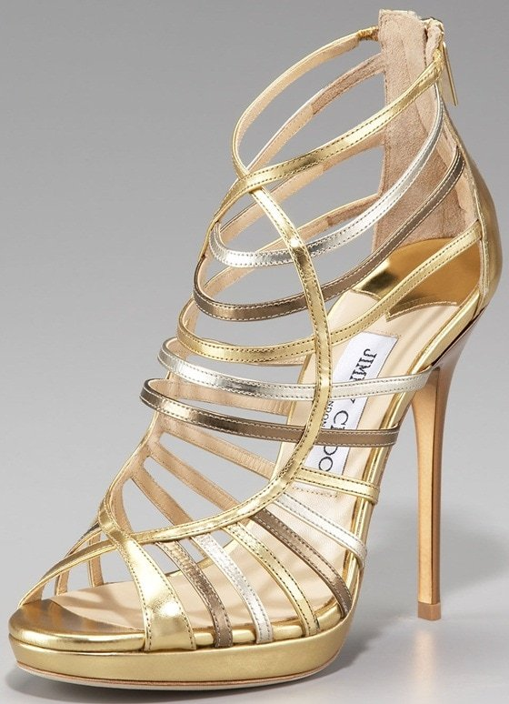 Jimmy Choo Virginia Mixed Metallic Strappy Sandals
