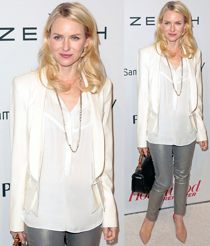 Naomi Watts styled a blazer with coated cropped pants