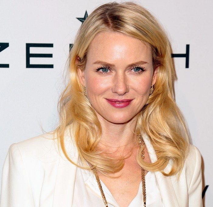 Naomi Watts in a white silk blouse by A.L.C. at The Hollywood Reporter Nominees' Night 2013
