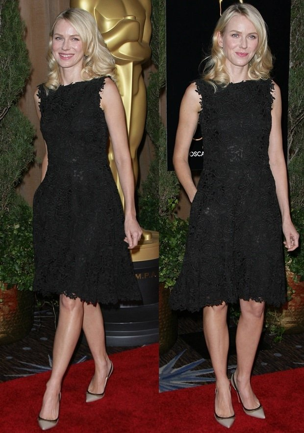 Naomi Watts wears a black Valentino dress on the red carpet