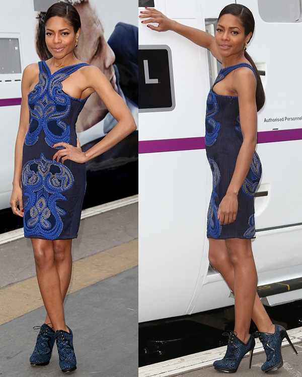 Naomie Harris unveils the Skyfall train at Kings Cross station February 16