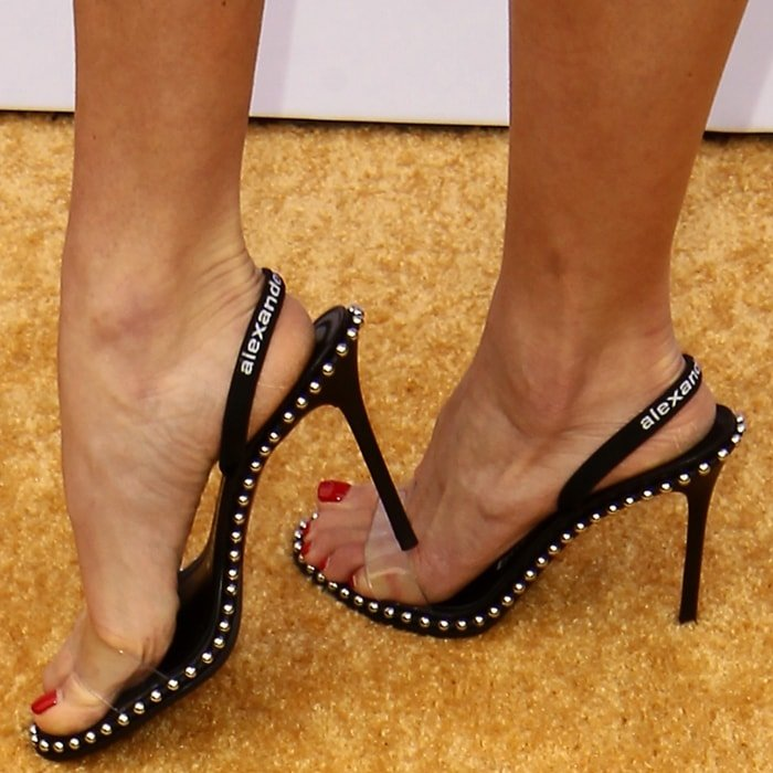 Nastia Liukin's sexy feet in Alexander Wang's Nova studded leather and PVC slingback sandals