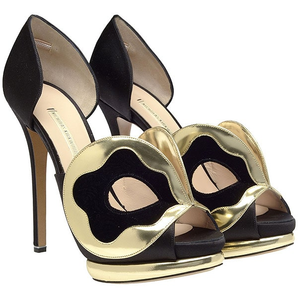 Nicholas Kirkwood Silk Satin D'Orsay Pumps with Mask Front