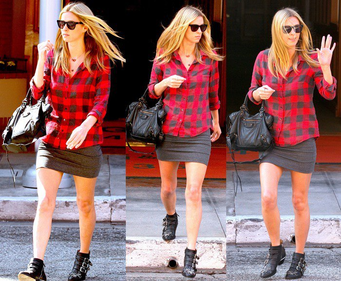 Nicky Hilton flaunts her incredible legs in a black-and-red buffalo plaid shirt