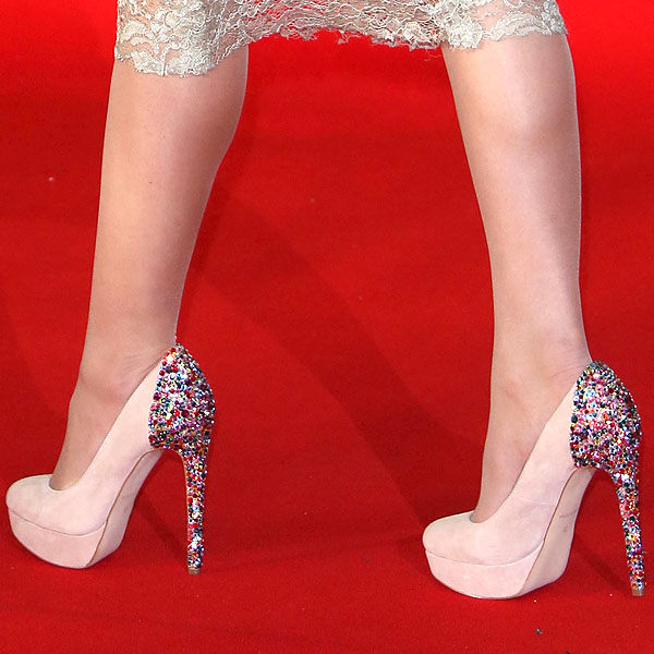 Paloma Faith wearing jewel heel pumps