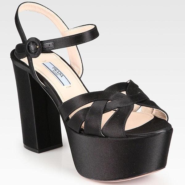 Prada Satin Platform Sandals