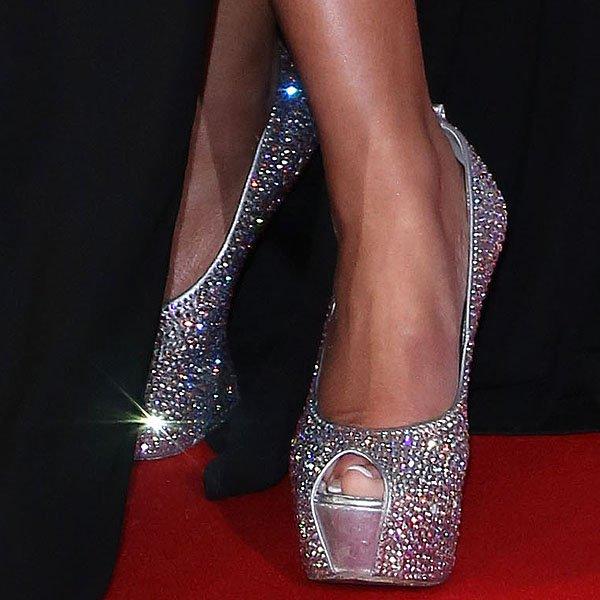 Rebecca Ferguson's sexy feet insparkly heel-less pumps