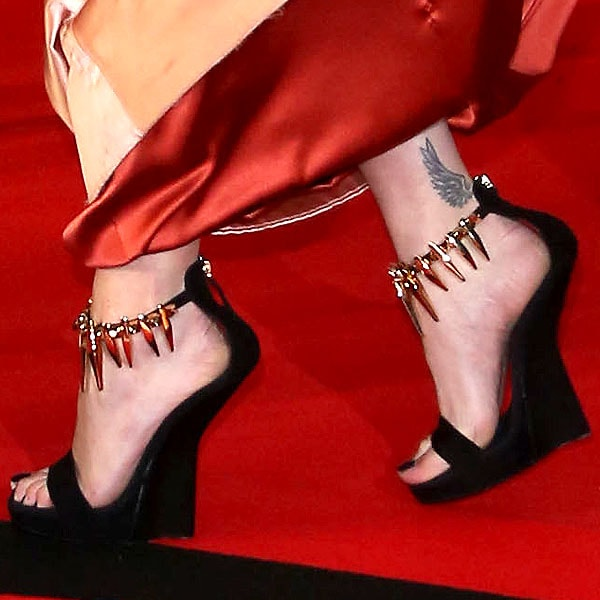 Rita Ora sporting Giuseppe Zanotti ankle-strap embellished wedges