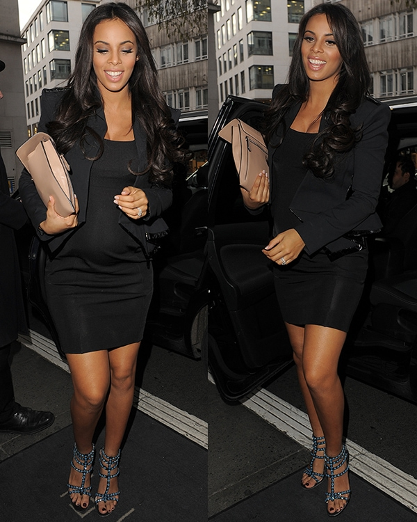 Rochelle Wiseman flashes her legs at the Julien Macdonald show during London Fashion Week Fall/Winter 2013/14
