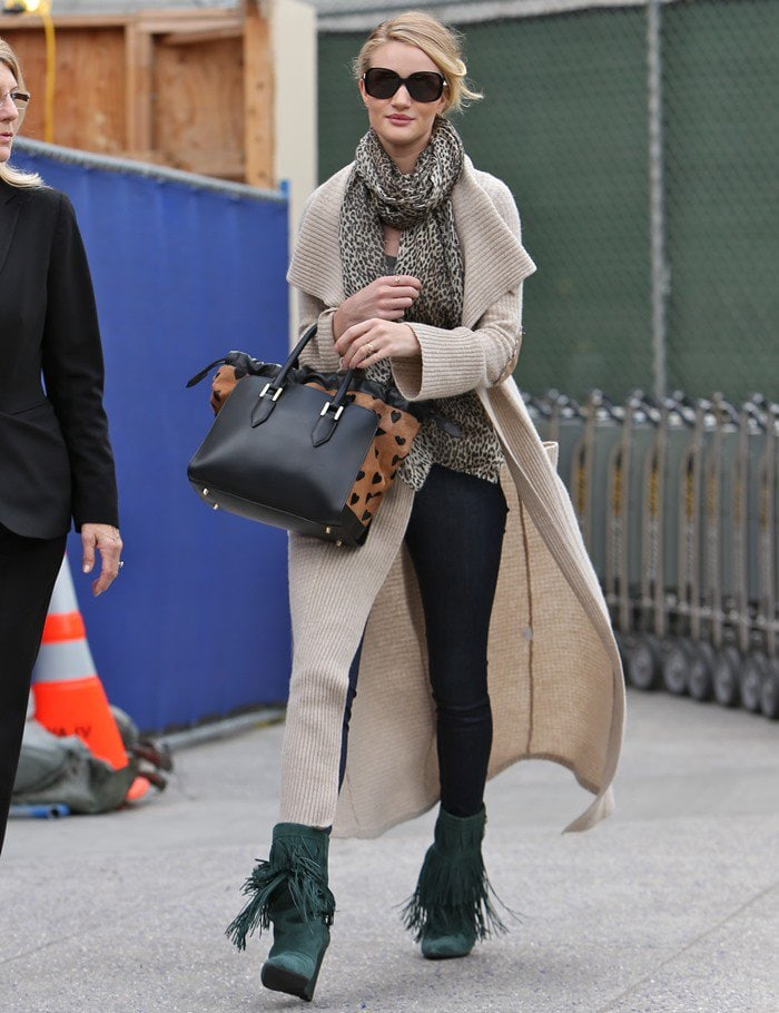 33f51a3535a Rosie Huntington-Whiteley in Fringed Isabel Marant Boots