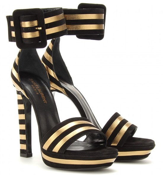Saint Laurent Paloma Suede and Leather Striped Sandals
