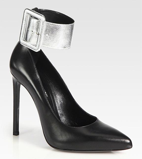 Saint Laurent Paris Metallic Leather Ankle Strap Pump