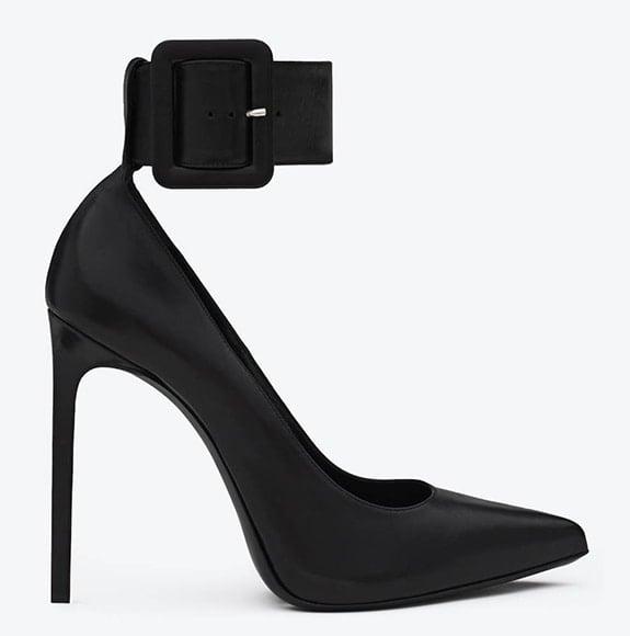 Saint Laurent Paris Pumps with Black Leather Ankle Strap