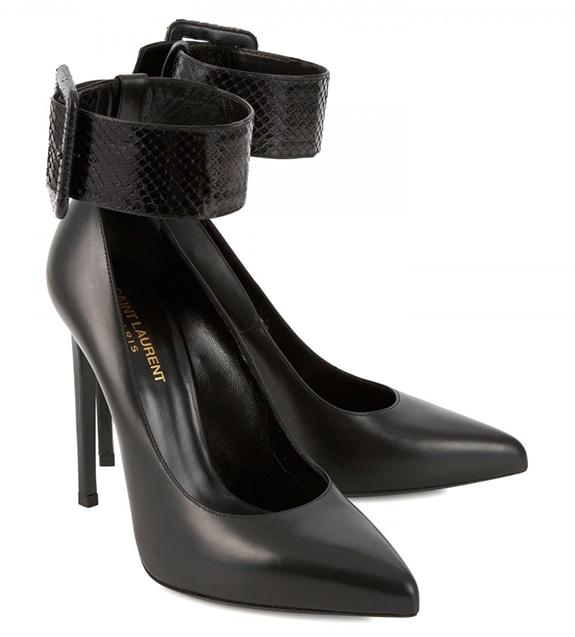 Saint Laurent Paris Python Ankle Strap Leather Pumps