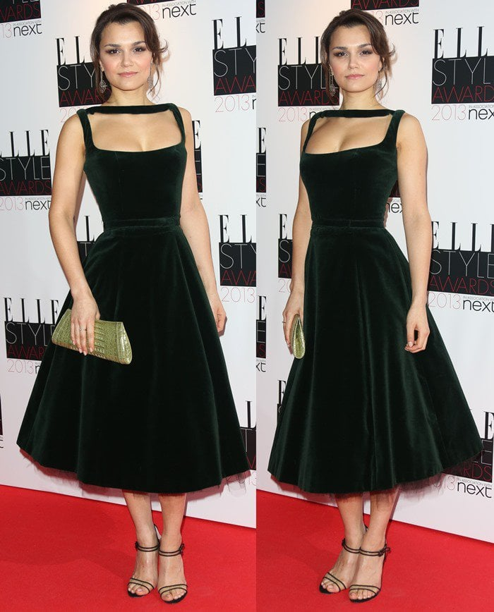 Samantha Barks styled her Manolo Blahnik shoes with a Celia Kritharioti dress and a Nancy Gonzalez clutch