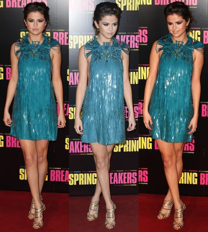 Selena Gomez flaunts her legs in beaded and sequined dress by Gucci