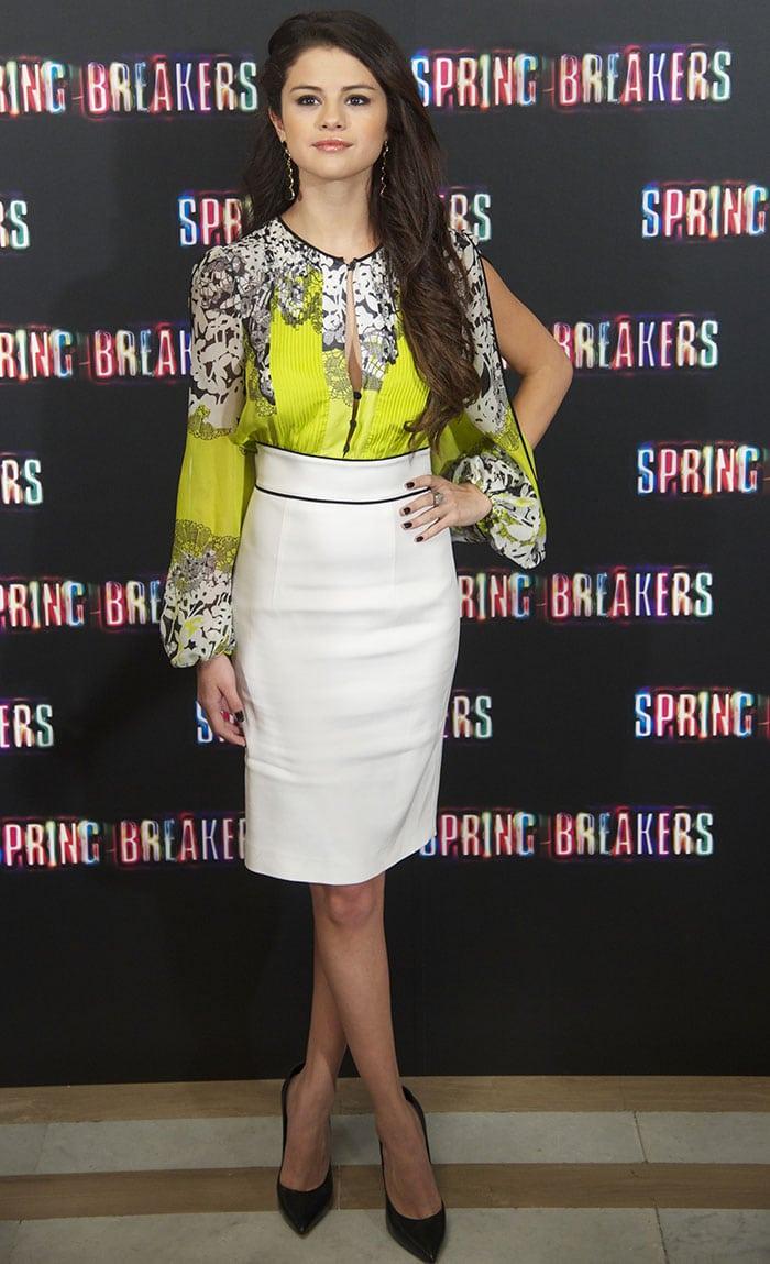 Selena-Gomez-neon-floral-blouse-white-skirt