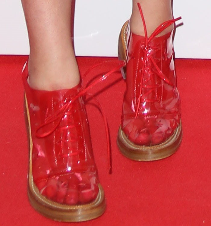 Simone Rocha shows off her feet in clear-heel oxfords