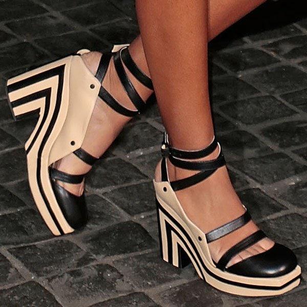 Solange Knowles Chanel striped platform pumps